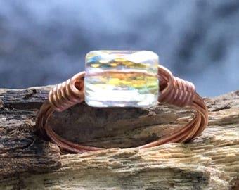 Swarovski Crystal and copper ring