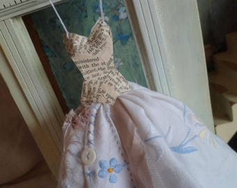 Assemblage style Art Dress Made From Paper and Vintage Embroidered Fabric