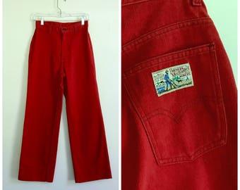 "vintage lipstick red Levis high waist plowboy pants 25""-26"""