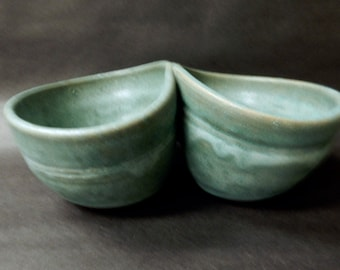 Turquoise two partcondiment  stoneware pottery bowl……*