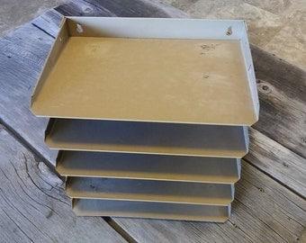 SALE/Vintage Industrial Metal Mail Sorter/Mid Century/Bill Holder/Office Decor/Organization