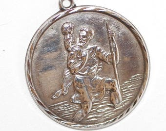 Saint Christopher Vintage Sterling Religious Medal Pendant on 18 inch sterling silver rolo chain