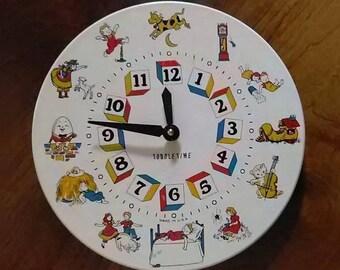 Refurbished Vintage Nursery Clock, Toddletime Nursery Rhyme Clock, Children's Wall Clock, Preschool Wall Clock, Daycare Center Wall Clock