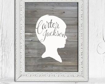 Kid Silhouette | Custom Gift for Mom | Children's Portrait | Personalized Child Silhouette  |  Barn wood Wall Art |  | Nursery Art Print