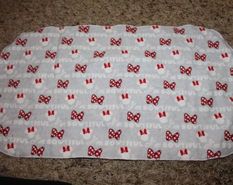 "Minnie Mouse ""I'm Bowtiful"" Burp Cloth with Minky"