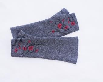 Long Felted Fingerless gloves Fingerless Mittens Arm warmers Gloves - Gray