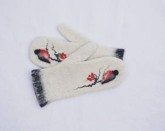 Felted Mittens - White Black