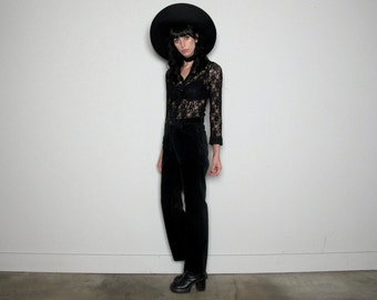 Black VELVET 90s CK Calvin Klein Womens PANTS Corduroy Vintage Size 30