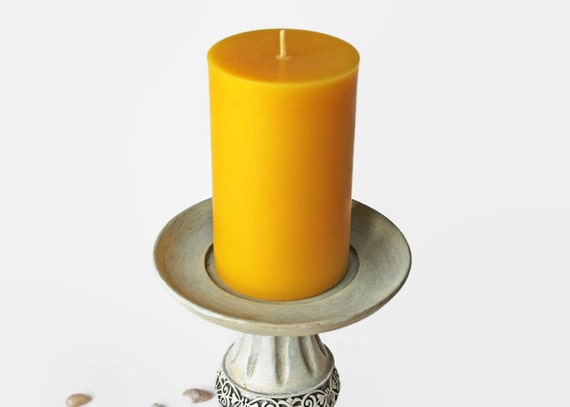 3x5 Pillar Candle, pure beeswax, handpoured pillar