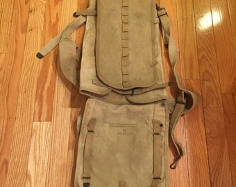 Vintage Rustic  military US CSG canvas bag