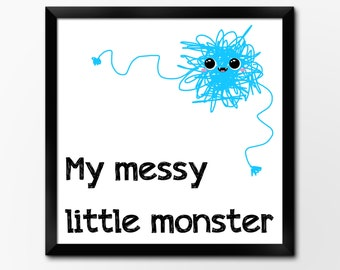 Nursery Art Printable, Messy Monster, 10x10inch Instant Download Illustration by Sleepy Cloud Studios
