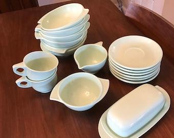 Vintage Mint Green Boonton Melmac Melamine Dinnerware Set 18 pieces early 1960s
