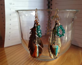 Feather Dangle Earrings, Dangle, Feather, Aqua
