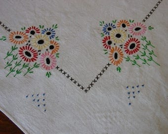 "Vintage Tablecloth Muslin 35"" Square Darling Embroidery Cottage Cutie"