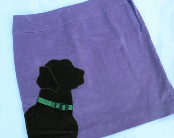 Chocolate Lab on Purple Corduroy