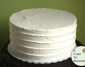 "8"" round faux cake, ridged icing fake cake for photo shoots and home staging. Wedding cake topper display, food prop or theatrical prop"