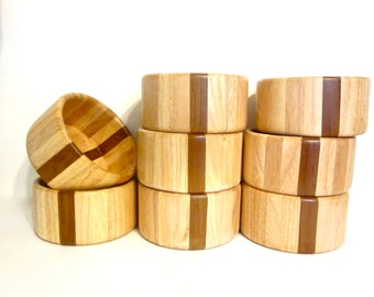 Vintage Arabia Design teak and birch wood salad bowls, Finland, set of 8