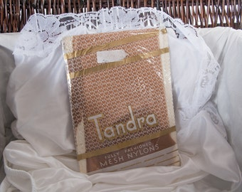 Genuine 1950's vintage 'Tandra' sheer cuban heel fully fashioned extra fine 30 denier seamed stockings in original packaging - Size 9 - 3792
