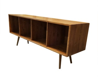 Mid Century Record Storage Bench - MADE TO ORDER