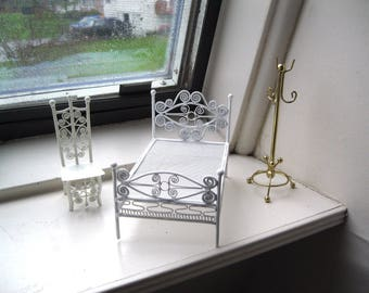 Vintage Dollhouse Furniture/Brass Coat Stand/ Metal White Bed and Chair