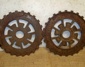 Vintage Farm Equipment Garden Gear Modern Art Steel Rusty Gear Seeder Plate Farm Implement International Harvester Country Yard Decor