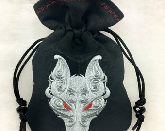 HELLHOUND - Embroidered Drawstring Dice Bag, Tarot Card Bag, Rune Pouch made of faux suede - LARP Costume Accessory