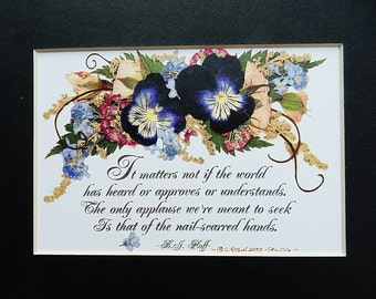 Musician gift.  Christian art.  Encouragement Gift.  Pressed Flowers.  Pansy picture. Quality Reproduction 5 x 7, matted.