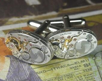 Steampunk Cufflinks Cuff Links - TORCH SOLDERED - Antique Silver HAMILTON Oval Watch Movements - Wedding Anniversary Gift - Sleek Set