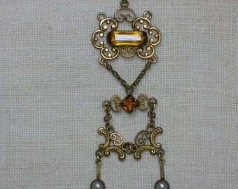 Edwardian Lavaliere necklace, Paste Citrine and Pearl, Gold Filled Chain (As-Is)