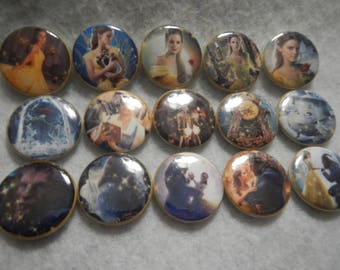 15 Beaut and the Beast Inspired Craft Flat Back Embellishment Buttons