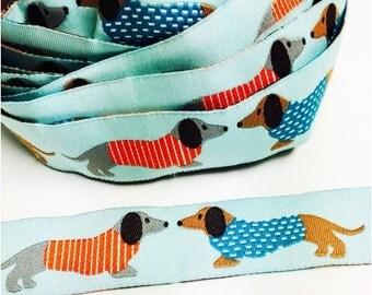 Dachshund puppy ribbon, jaquard woven ribbon