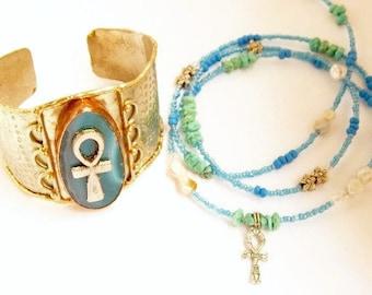 Ankh Bracelet-Waist Beads Set; Turquoise-Agate Ankh Set; Royal Couple  Men's Ankh Bracelet, Women's Ankh Waist Beads Set