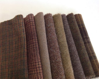 Woodland Brown Wool Scraps, 8 pieces for Applique and Craft projects, W257, Textures, Plaids, Hand Dyed