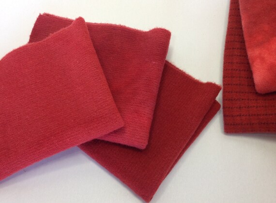 Trio of Reds, 3) Fat 1/8ths,  Hand Dyed Wool Fabric,  W283, Crimson Red, Vermillion Red, Deep Warm Red