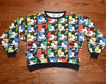 vintage 80s 90s Mickey Mouse sweatshirt allover print filmstrip sweatshirt Disney Mickey jumper JG Hook 100% cotton large L