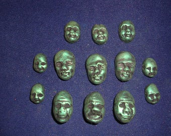 Lot of 13 Metallic Forest Green Polymer Clay Face Beads/Pendants