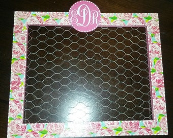 Lilly Pulitzer Inspired First Impresions MESSAGE BOARD cHicKEn WiRe Frame Optional Monogram