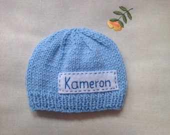 Newborn photo prop, blue newborn hat, personalized newborn hat with name, newborn boy, monogram baby hat, , name beanie, newborn knit hats