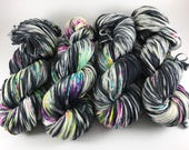 Oscar Worsted, Hand Dyed Yarn, worsted weight, superwash merino, Cruella Got Speckled