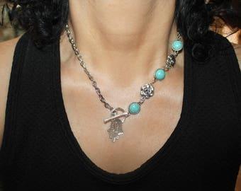 Hamsa necklace, Hamsa charm necklace, turquoise necklace, evil eye necklace, silver evil eye, evil eye jewelry, evil eye charm