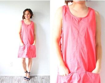 30% OFF EASTER SALE Vintage pink jumper dress // overall jumper dress // tight pink pocket dress // spring summer jumper dress // summer sho