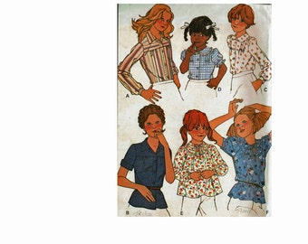 1970s Girls Tops Size 8 UNCUT Vintage Sewing Pattern Smock Tops Peasant Blouses 70s boho chic McCalls 6175