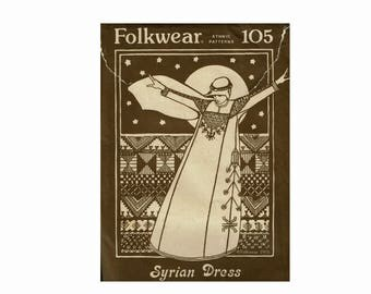 Syrian Dress Uncut Sewing Pattern Folkwear 105 Flowing Dress