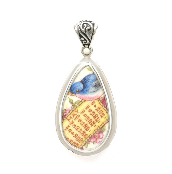 Broken China Jewelry Vintage Bluebird Blue Bird May Calendar Sterling Drop Pendant