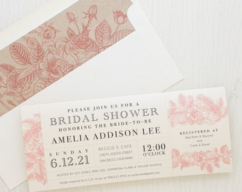 "Blush Floral Bridal Shower Invitations, Boho Shower Card with Matching Envelope Liner, Unique Bridal Shower, 3.00/each - ""Garden Floral"""