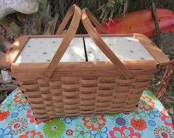 oak splint picnic basket large basket w/plates lock in cups most unusual mint condition
