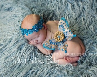 GOLDEN TURQUOISE Couture Newborn Butterfly Fairy Wings & Headband Set Photo Prop First Photos
