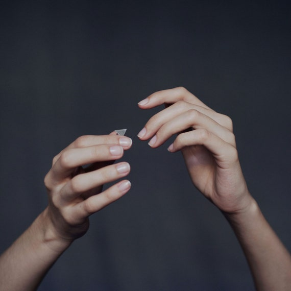 silver geometric ring N5 // pyramid ring // geometric shapes // GM005