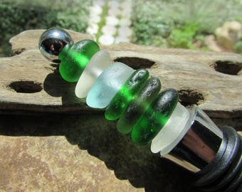 BEACH GLASS Wine Stopper Sea Glass Wine Stopper Cairn Stack up