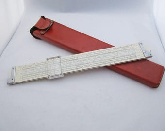 K + E Slide Rule and Leather Case Model 4081-3 Log Duplex Decitrig. Mahogany, white celluloid. Keuffel & Esser. Free US Shipping- FL